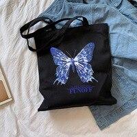 Bolso de hombro de lona con estampado de mariposa para mujer, bandolera femenina de lona con estampado de mariposa Ulzzang, estilo Harajuku