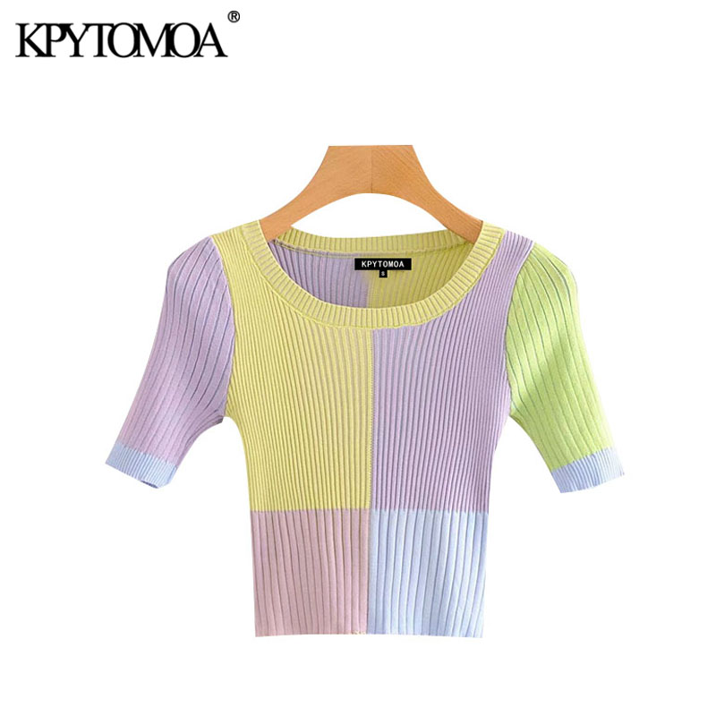 KPYTOMOA Women 2020 Sweet Fashion Color Plaid Cropped Knitted Sweater Vintage O Neck Short Sleeve Female Pullovers Chic Tops