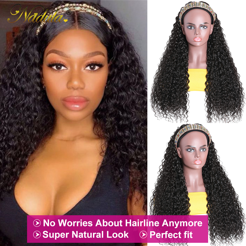 Perfect Fit Culry Hair Headband Wigs for Black Women 150% Density Super Natural Half Wig Curly  Wig Nadula Product 3