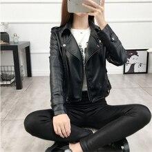 цены 2019 Fall Women Black Slim Cool Lady Biker Jacket PU Leather Jackets Sweet Female Zipper Faux Femme Outwear Coat Plus Size S-3XL