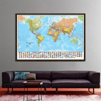 150x100cm The World Political Physical Map Foldable Non-smell World Map with National Flags for Culture Travel Painting Poster