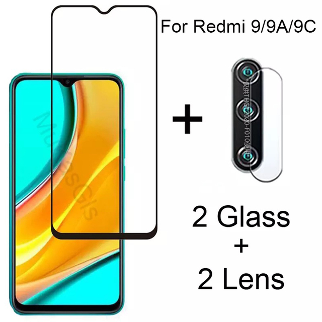 Full Gule Screen Protector Tempered Glass For Xiaomi Redmi 9 9A 9C Explosion-proof Glass + Lens Film For Xiaomi Redmi 9 9A 9C