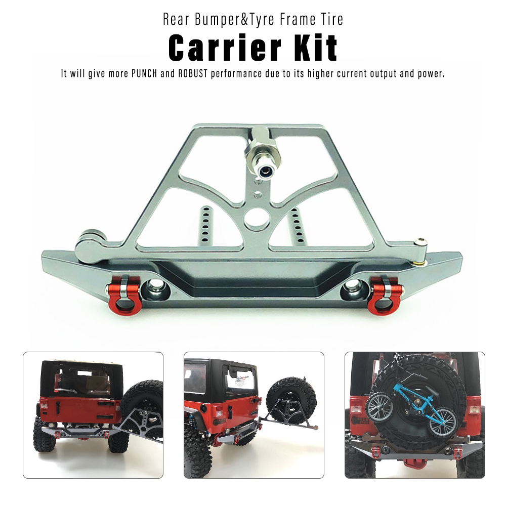 RC Crawler RC Car Rear Bumper w/ Tyre Frame Tire Carrier Kit for 1/10 Traxxas HSP Redcat RC4WD <font><b>Tamiya</b></font> Axial SCX10 D90 HPI Parts image