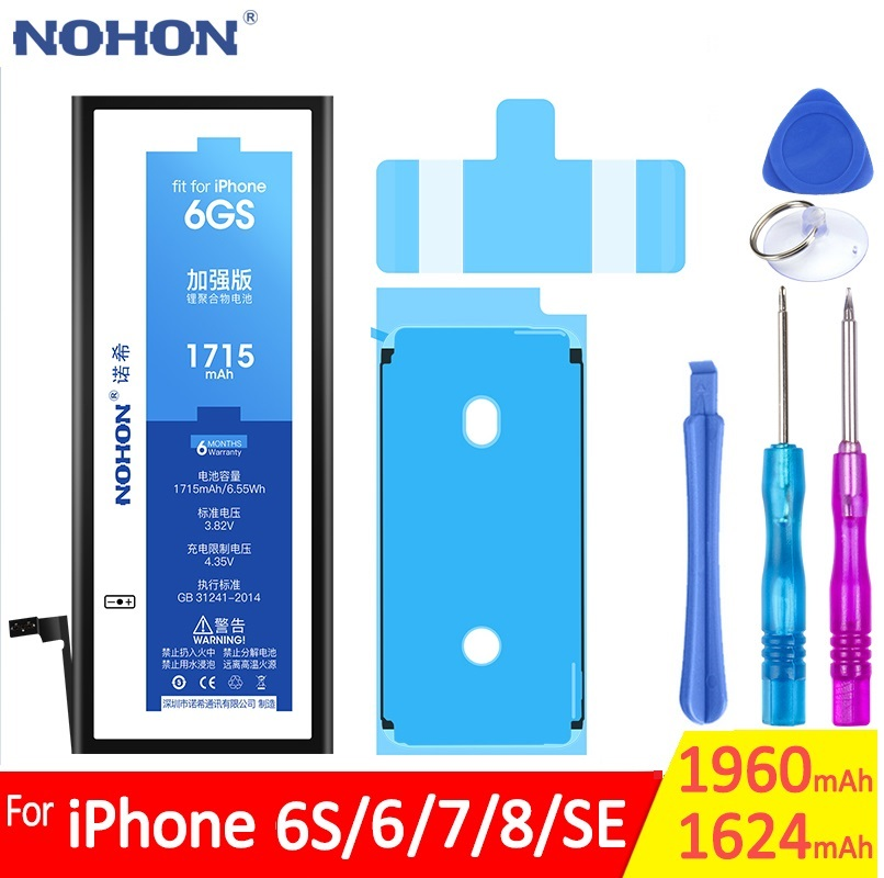 NOHON Original Battery For Apple iPhone 6 6G 6S 7 8 SE 7G 8G Phone Bateria Replacement Real Capacity Batarya 1624mAh 1960mAh image