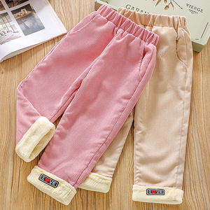 Girls Autumn And Winter Casual Pants 2020 New Plus Velvet Corduroy Trousers Children 2-6 Years Old Baby Girls Thick Pants