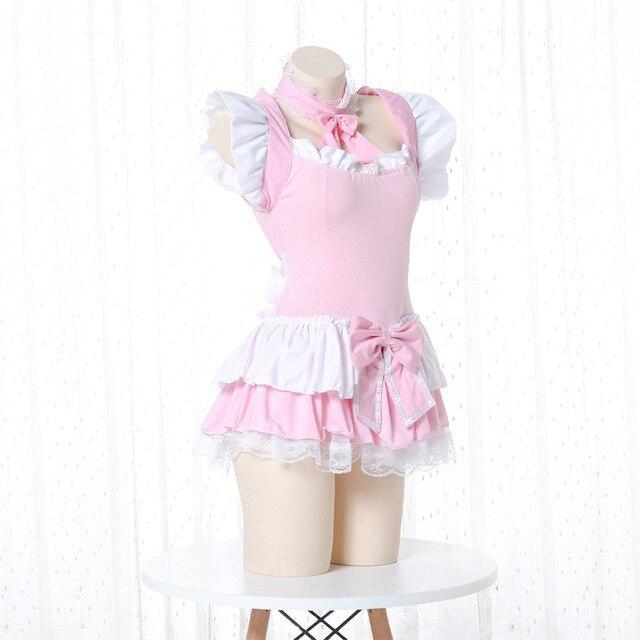 Costume de serveuse Lolita rose pour femmes, tablier Kawaii, robe, uniforme, jeu de rôle érotique, Lingerie Sexy 2