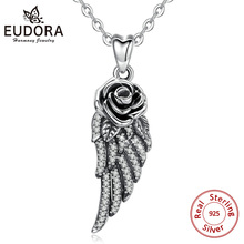 Eudora 925 Sterling Silver Angel Wing Pendant Necklace oxidized silver Rose Charm Vintage Jewelry for women men CYD461