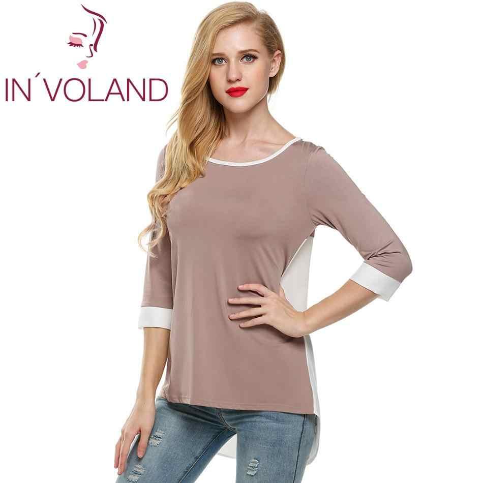 Le donne Più Il Formato T-Shirt Primavera-Estate casual 3/4 Camicia Della Rappezzatura Del Manicotto Magliette e camicette Femminile Tee Shirt