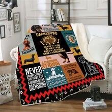 Флисовое одеяло dachshund с 3d принтом для кровати походов пикника