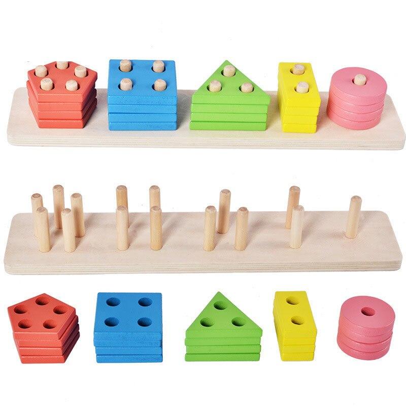 Geometria de madeira caso coluna brinquedo educacional cor forma cognitiva correspondência desmontagem montado brinquedos wh29