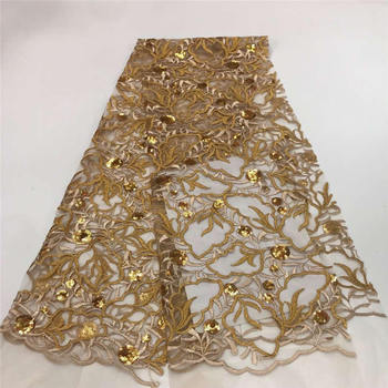 African French Lace with sequins, Big French lace, African Lace fabric, embroidery lace, 5y / LOT M15581 gold