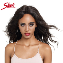 Sleek Lace Front Human Hair Wigs Body Wave 16 Inch Long Lace Part