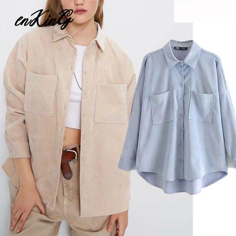 2019  England Preppy Oversize Corduroy Autumn Blouse Women Blusas Mujer De Moda 2019 Boyfriend Shirt Womens Tops And Blouses