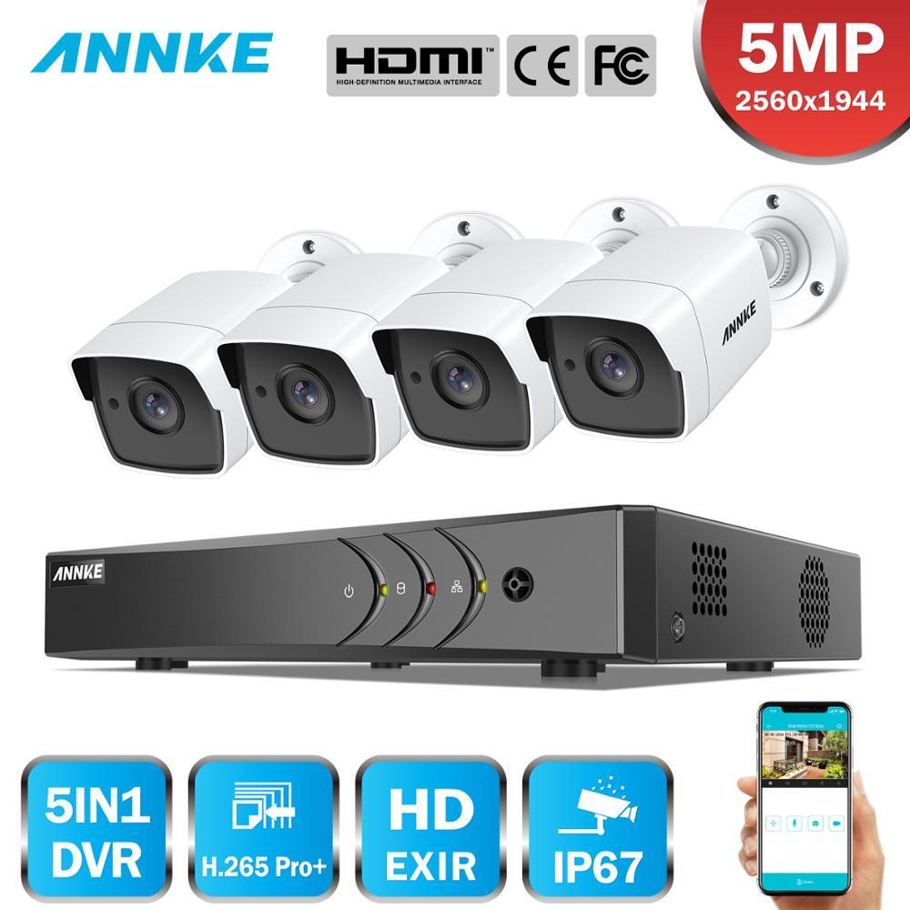 ANNKE H.265+ 5MP Lite Ultra HD 8CH DVR CCTV Security System 4PCS 5MP IP67 Weaterproof Outdoor 5MP Camera  Video Surveillance Kit