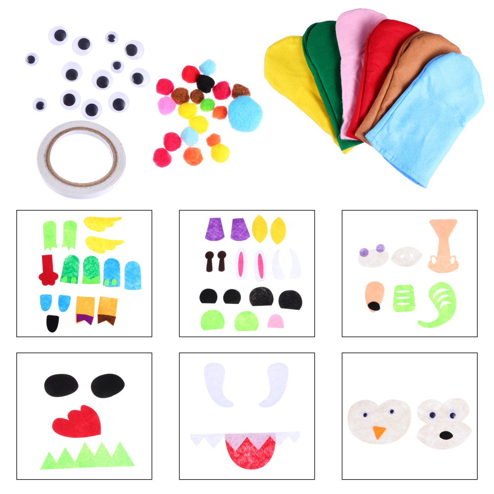 1 Set Adorable Hand Puppet DIY Material Educational Toys Kids Interactive