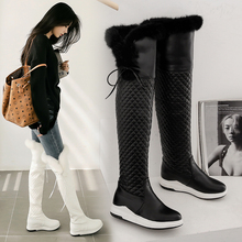 White Shoes Snow-Boots Over-The-Knee-Boots Wedge-Heels Female Black Winter Women Fashion