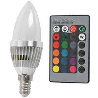3W RGB LED Light E14 żarówka W kształcie świecy 16 kolorów lampa z pilotem na