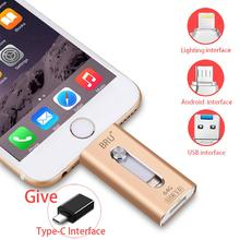 BRU OTG USB 3.0 Flash Drive 32gb 64gb 128gb 256gb For iPhone ipad Android Phone Tablet PC Android Pen drive Usb Memory Stick high quality 3 in 1 32gb 64gb 128gb 256gb otg metal usb flash drive flash memory stick pen drives for iphone android compute
