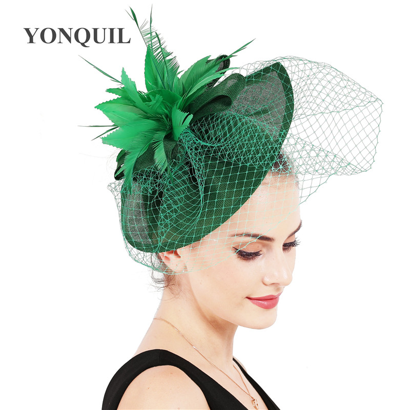New colors Crafts Imitation Sinamay bridal Mesh Hat Fascinator mesh with veils Loops and dark peach Feathers <font><b>fllower</b></font> headdress image