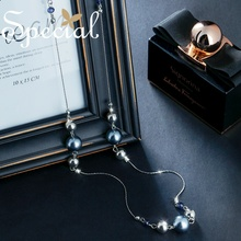 Special Fashion Silver Gray Long Necklace Beaded Sweater Chain Maxi European Style Pearl Jewelry Gifts for Women S1793N