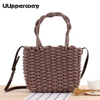 Women Bag Designer Handbags Straw Cotton Rope Beach Tote Bags Female Gray White Brown Women Small Handbag for Girls Shoulder Bag