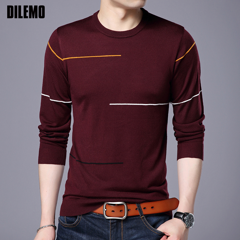 2019 New Fashion Brand Sweater For Mens Pullover Slim Fit Jumpers Knitting Warm Woolen Autumn Korean Style Casual Clothing Men