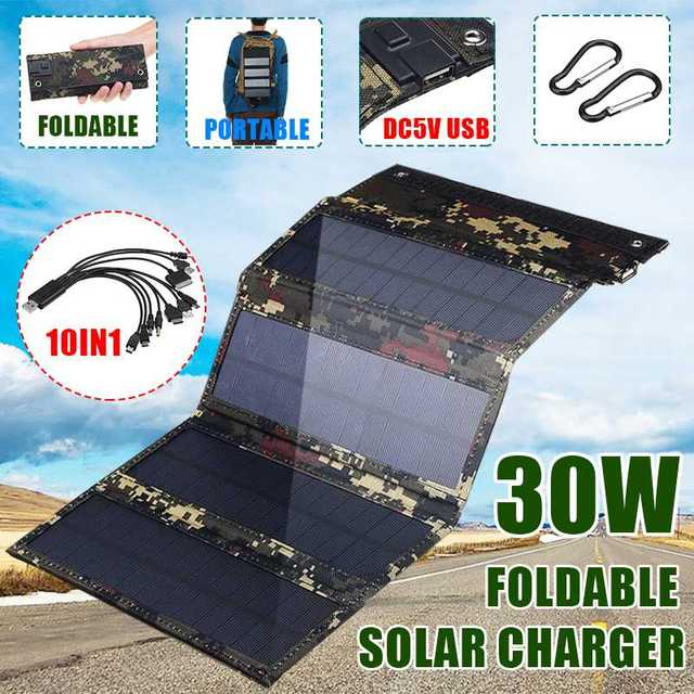 30W Foldable Solar Panel 5V Sun power Solar Cells Bank Pack USB 10in1 USB Cable Waterproof for Phone Backpack Camping Hiking 1