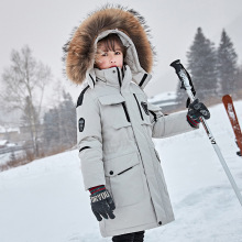 Girls Winter Down-Jacket Russian Coat Outerwear Hooded-Fur-Collar Teenage-Snow Kids OLEKID