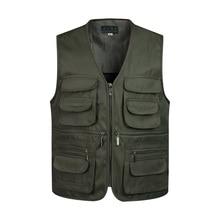 Мужской классический жилет с несколькими карманами без рукавов, разгрузочный однотонный жилет для работы, жилет для фотографа, тактическая мужская куртка