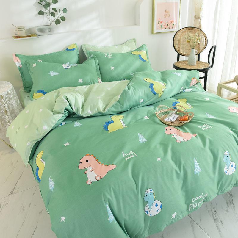 Dinosaur Bedding Set Fashion Fruit Cartoons Flat Sheets Adult Children Bed Linen Duvet Quilt Cover Pillowcase Kawaii Boys Girl