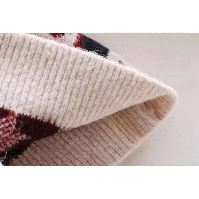A maniche lunghe maglione per la femmina 2019 di marca di lusso mohair pied de poule plaid maglione a collo alto delle donne di inverno caldo lavorato a maglia pullover