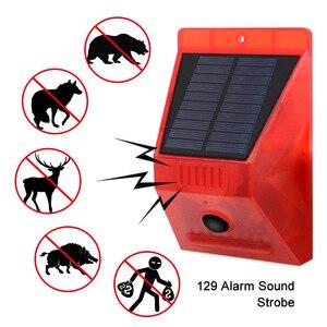 Image 2 - Sensor Solar de movimiento por infrarrojos, alarma estroboscópica de sirena, resistente al agua, 129dB, para patio de casa y exterior, novedad de 2020