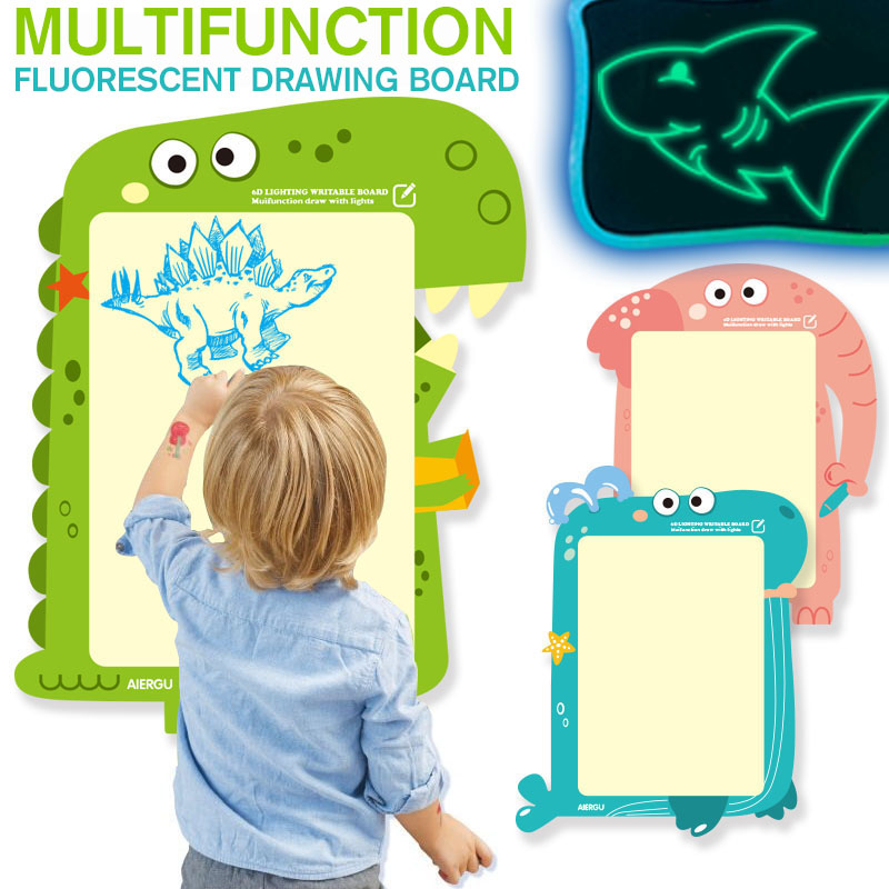 NEW A3 Draw With Night Light In Dark Children Funny Toys Writing Magic Drawing Board Set Educational English Language