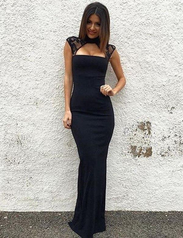 Entzückende Abendkleid Mermaid Jewel Cap Sleeves Keyhole Dark Navy Lange Abendkleid mit Spitze für Party