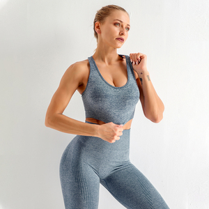 2PCS Nahtlose Frauen Yoga Set Workout Sportswear Gym Kleidung Fitness Langarm Crop Top Hohe Taille Leggings Sport Anzüge Yoga-Sets    -