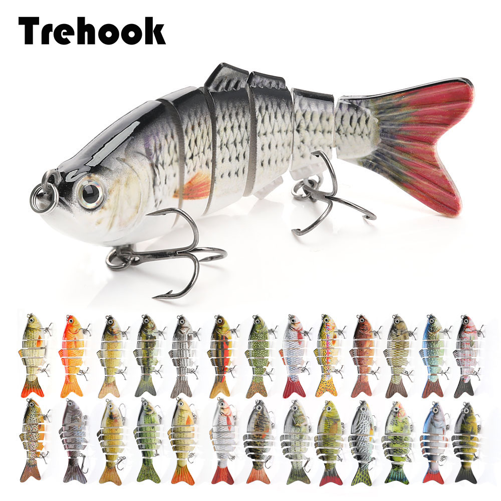 TREHOOK Sinking Wobblers Fishing Lures 10cm 17.5g 6 Multi Jointed Swimbait Hard Artificial Bait Pike/Bass Fishing Lure Crankbait