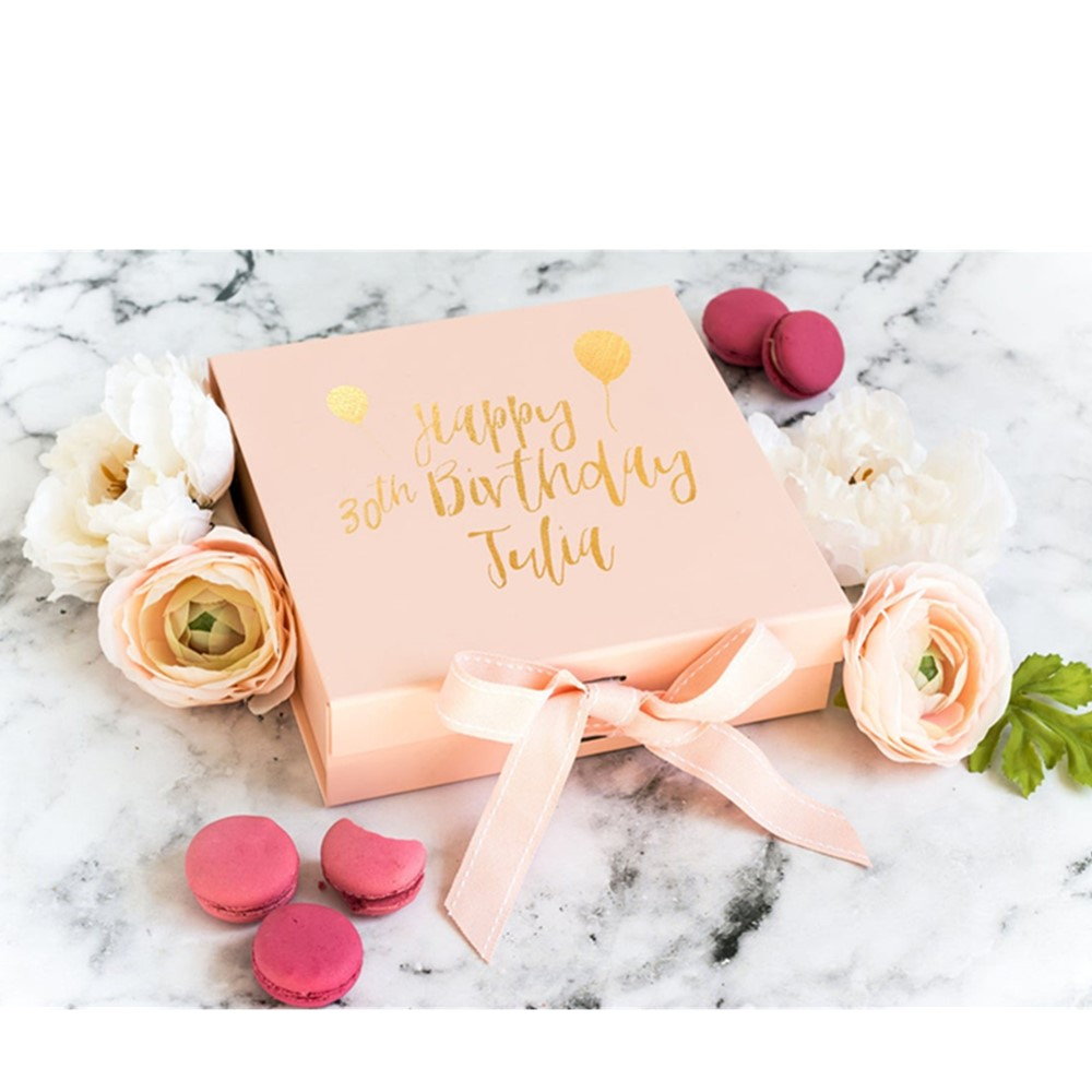 Personalised Real Foil Print! 30th Birthday Gift Box with Name rose gold  Custom Bridal gift box black Happy Wedding Gift Box|Gift Bags & Wrapping  Supplies| - AliExpress