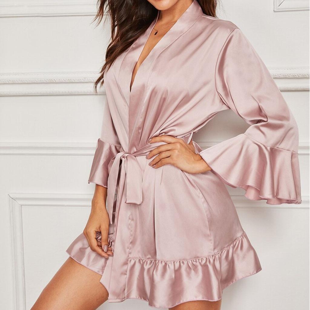 Frauen Rosa Bademantel Nachtwäsche Sexy Satin Rüschen Lange Ärmel Saum Robe  Mit Gürtel Nachtwäsche Eleganten Frauen Bad Robe Braut Kimono