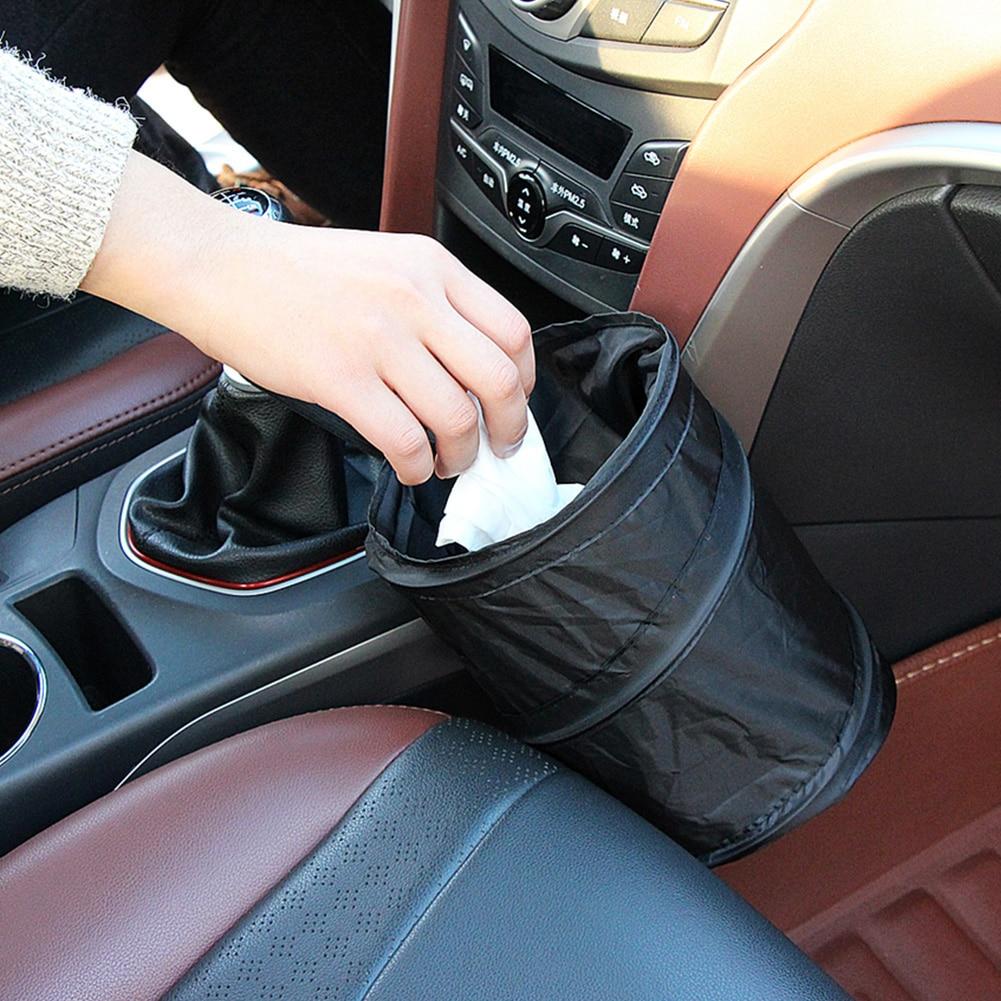 Portátil plegable Oxford tela impermeable bolsa de basura para coche Papelera para vehículo lata de almacenamiento para el hogar bolsa de cubo accesorios para el coche