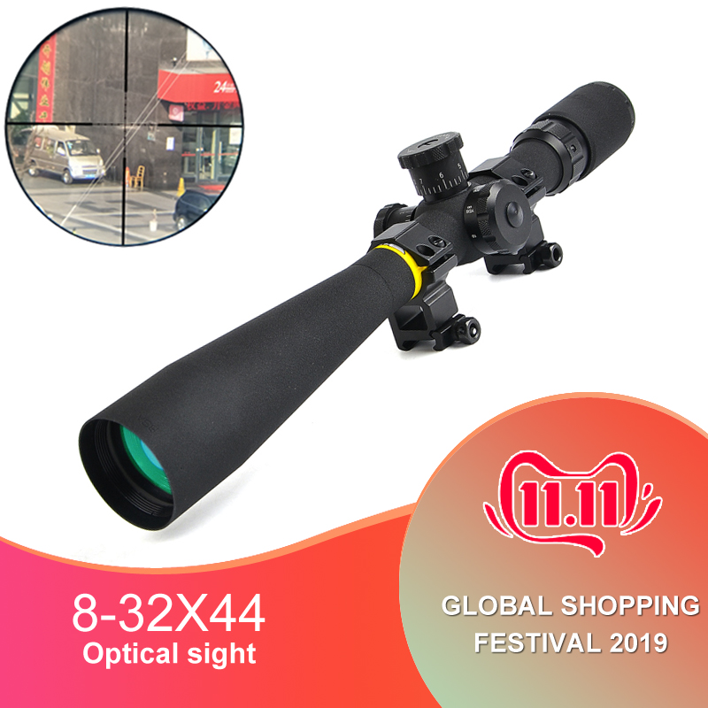 BSA OPTICS 8-32x44 AO Hunting Mil-Dot Rifle Scope Side Wheel Focus Parallax Adjustment Riflescope Front Sight For Sniper Rifle