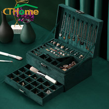 CTHome New 3-layers Green Stud with Lock for Women Jewelry Organizer Large Ring Necklace Makeup Holder Cases Velvet Jewelry Box