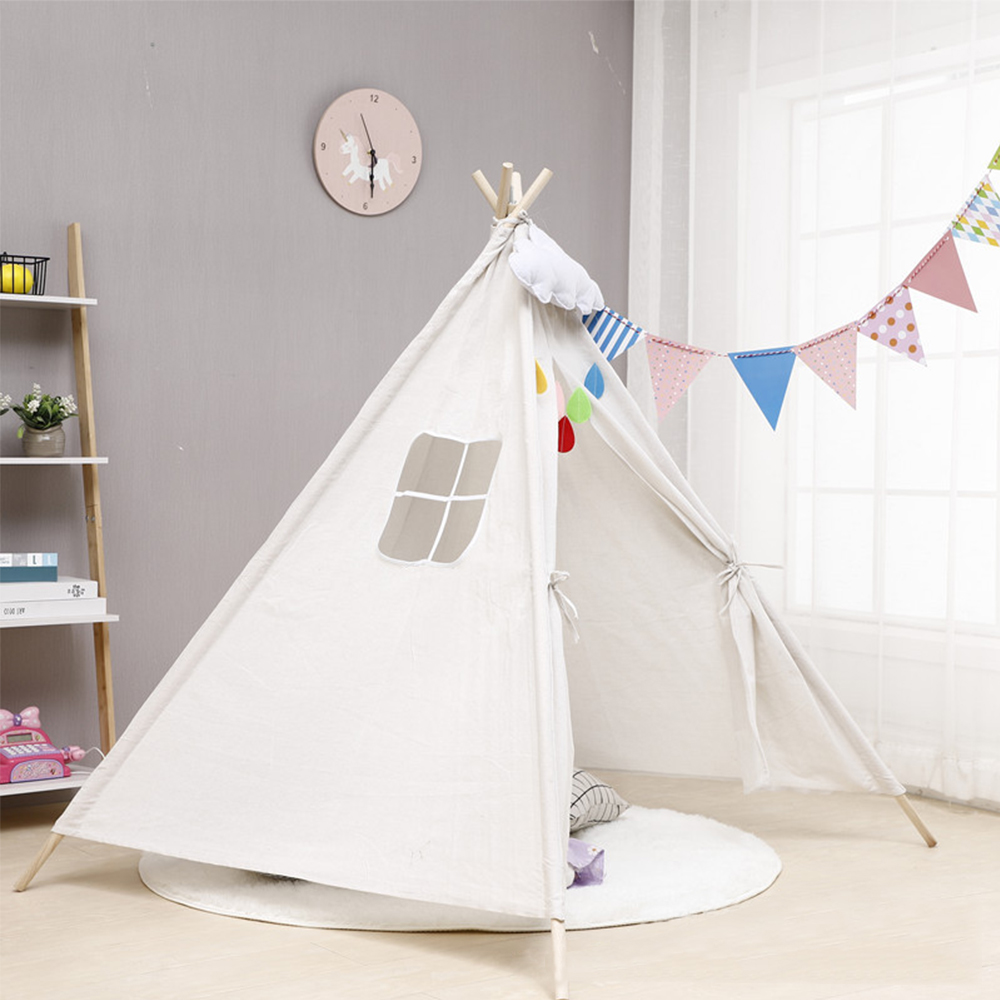 Kids Tents Canvas Triangle Tipi Cartoon Cute Outgoing Toys Children's Tent Indoor Kids Play House Portable Foldable Game Teepee