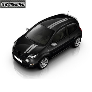 Image 2 - Vinyl Aufkleber Für Renault Twingo Clio Racing Sport Styling Streifen Auto Haube Schwanz Decor Aufkleber Auto Körper Angepasst Aufkleber