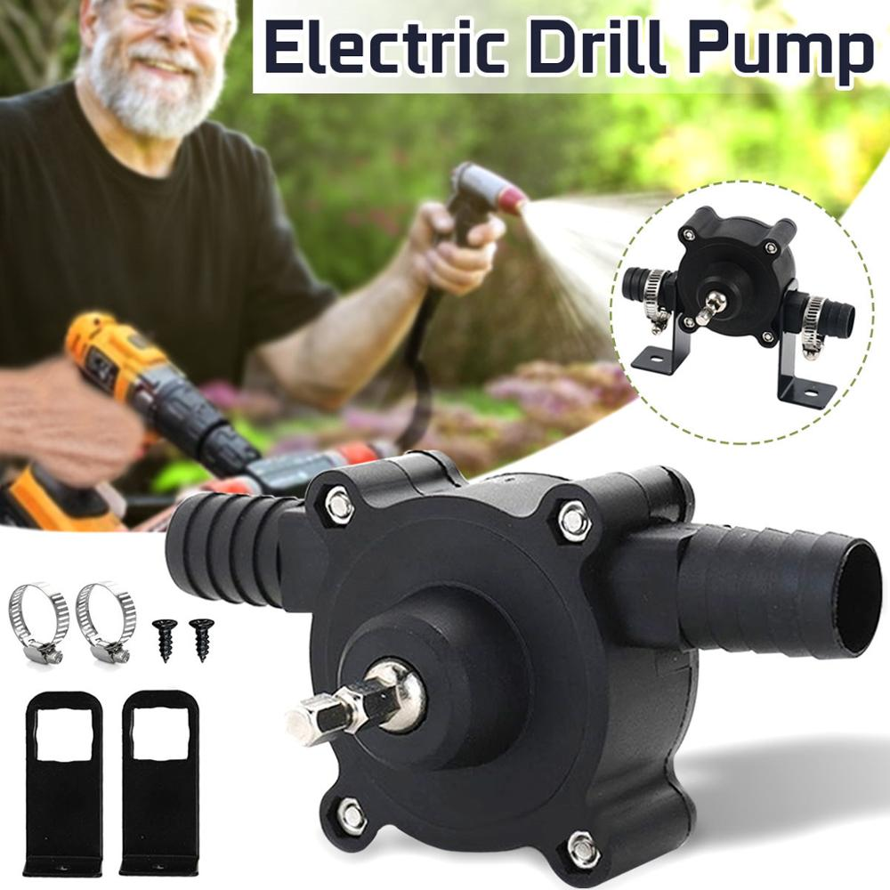 Portable Electric Drill Pump Diesel Oil Fluid Water Pump Mini Hand Self-priming Liquid Transfer Pumps Home Garden Outdoors