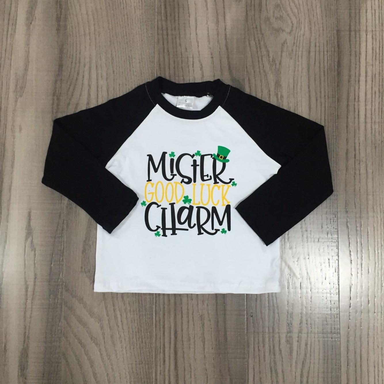 Girlymax Spring St Patrick Baby Boys Long Sleeve Cotton Boutique Top T-shirt Raglans Clothes Lucky Shark Shamrocks Clover 4
