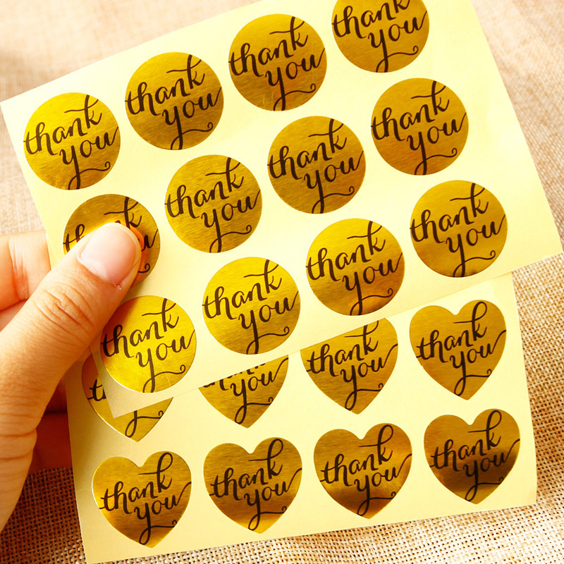 108pcs Golden Thank You Paper Stickers Heart Round Shape  Deco Stickers Scrapbooking Diary Stationery Sticker School Supplies