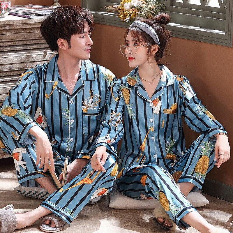 Luxury Pajama Suit Satin Silk Pajamas Sets Couple Sleepwear Family Pijama Lover Night Suit Men & Women Casual Home Clothing