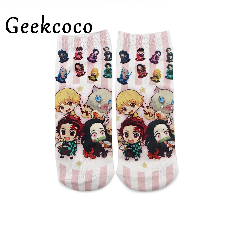 10pairs/lot J1075 Cartoon Anime Kimetsu No Yaiba Cute Cotton Short Sock Cute Unisex Skatebord Socks Fashion One Side Print Socks