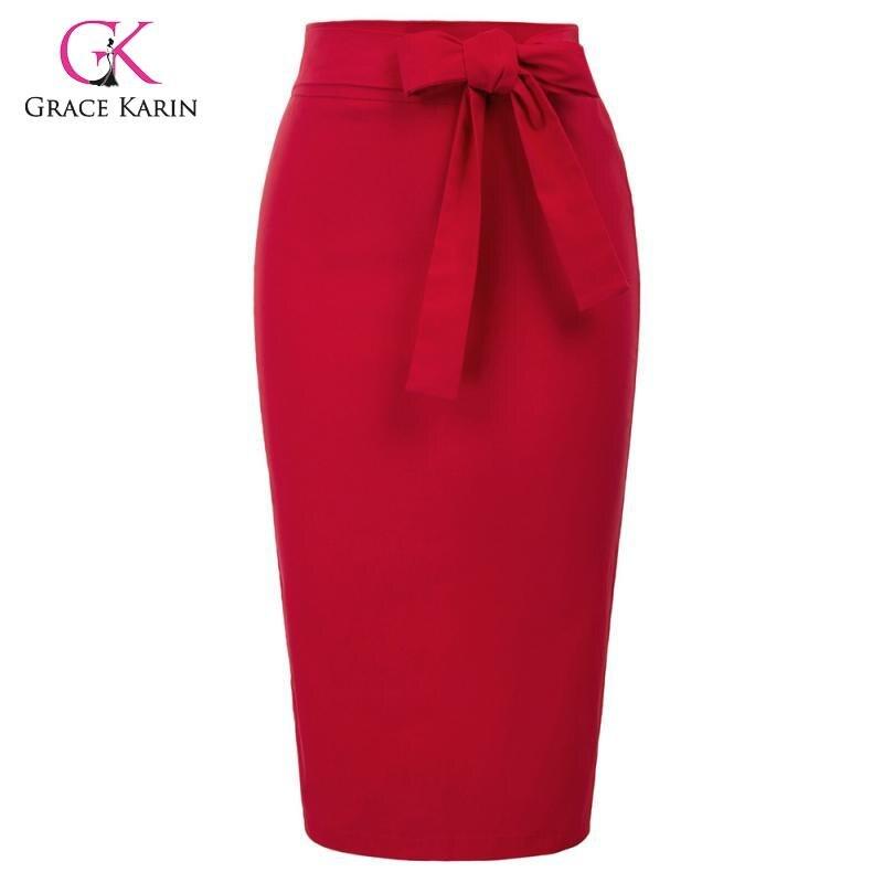 Grace Karin 2020 Formal Skirt Women High Waist Bodycon Pencil Skirt Vintage Hips-Wrapped Business Office Work Skirt With Belt