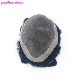 1 pçs laço completo mono base de renda + plutônio, substituição natural para homem, natural preto mão amarrado filamento base peruca dos homens frete grátis